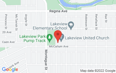 Map to Lakeview United Church in Regina, SK