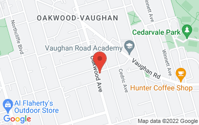 Map to Oakwood Baptist Church in Toronto, ON