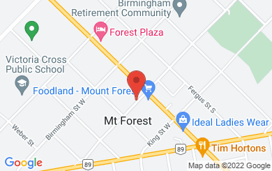 Map to Ramoth House in Mount Forest, ON