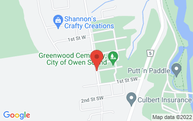 Map to Rockcliffe Pentecostal Church in Owen Sound, ON
