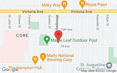 Map to VIA Church Regina in Regina, Saskatchewan