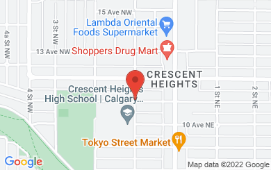 Map to Crescent Heights Baptist Church in Calgary, AB