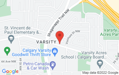 Map to Varsity Acres Presbyterian Church in Calgary, AB