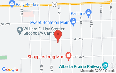 Map to Stettler United Church in Stettler, AB