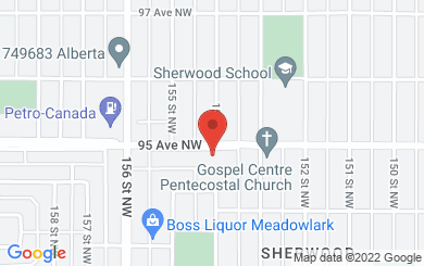 Map to Gospel Centre in Edmonton, Alberta