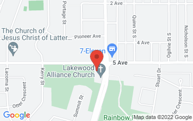 Map to Lakewood Alliance Church in Prince George, BC