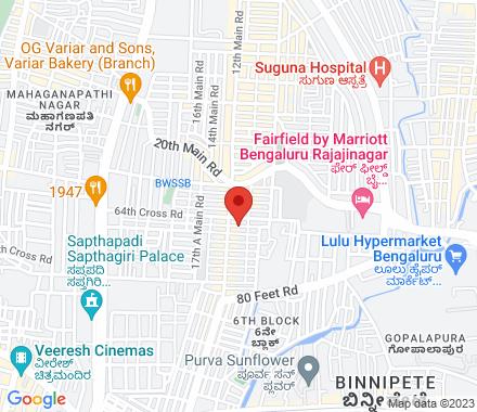 65th Cross Rd, 5 Block, Rajajinagar, Bengaluru, Karnataka 560010  ,  Bangalore, in - Map view