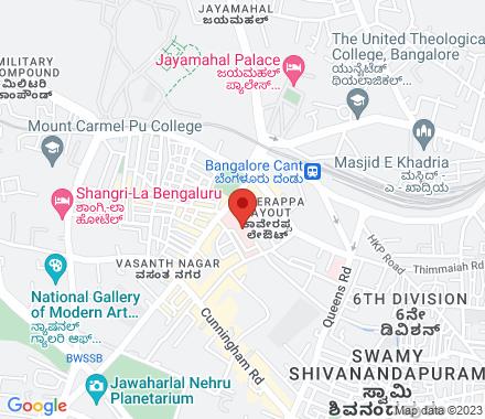 8, Millers Rd, Govinda Chetty Colony, Kaverappa Layout, Vasanth Nagar, Bengaluru, Karnataka 560051  ,  Bangalore, in - Map view