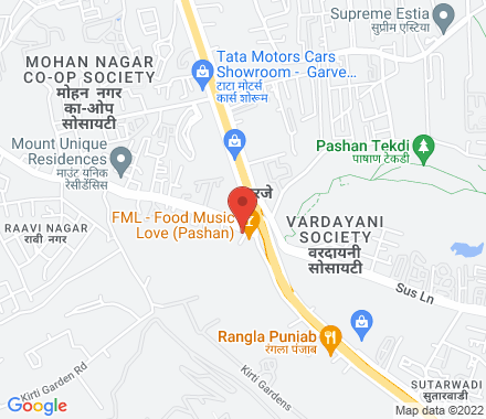 at Nisarg Restaurant & Bar, Behind Oxford Nissan Showroom; Off   Pune-Mumbai Highway, Sus-Pashan Road( on way to Symbiosis Laval - Map view