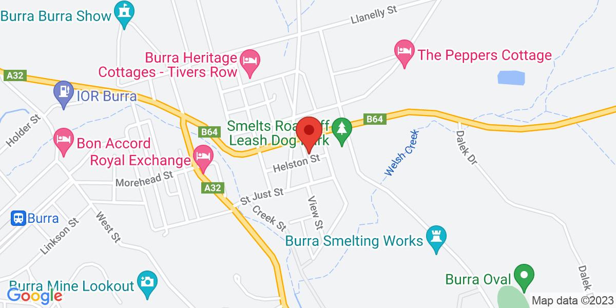 <div class='vcard'><div class='fn'>Burra Bakehouse</div>                         <div class='adr' >                             <div class='street-address'>1 Trembeth Street</div>                             <div class='extended-address'></div>                             <div>                                 <span class='locality'>Burra</span>,                                 <span class='region'>South Australia</span>                                 <span class='postal-code'>5417</span>                             </div>                                                      </div></div>