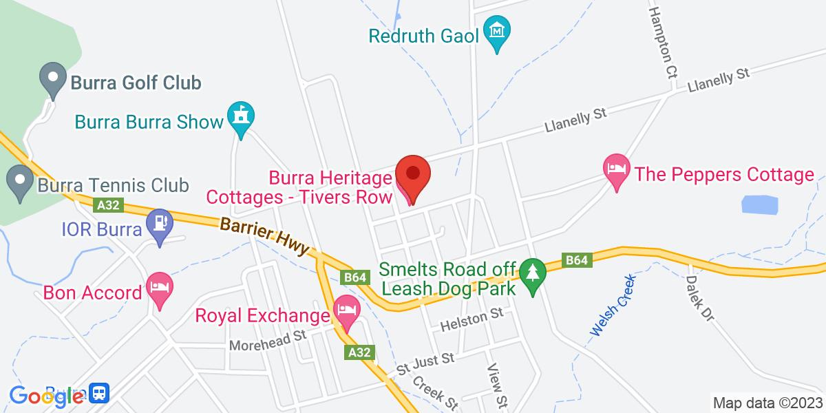 <div class='vcard'><div class='fn'>Emma Tiver Heritage Cottage</div>                         <div class='adr' >                             <div class='street-address'>12 Truro Street</div>                             <div class='extended-address'></div>                             <div>                                 <span class='locality'>Burra</span>,                                 <span class='region'>South Australia</span>                                 <span class='postal-code'>5417</span>                             </div>                                                      </div></div>