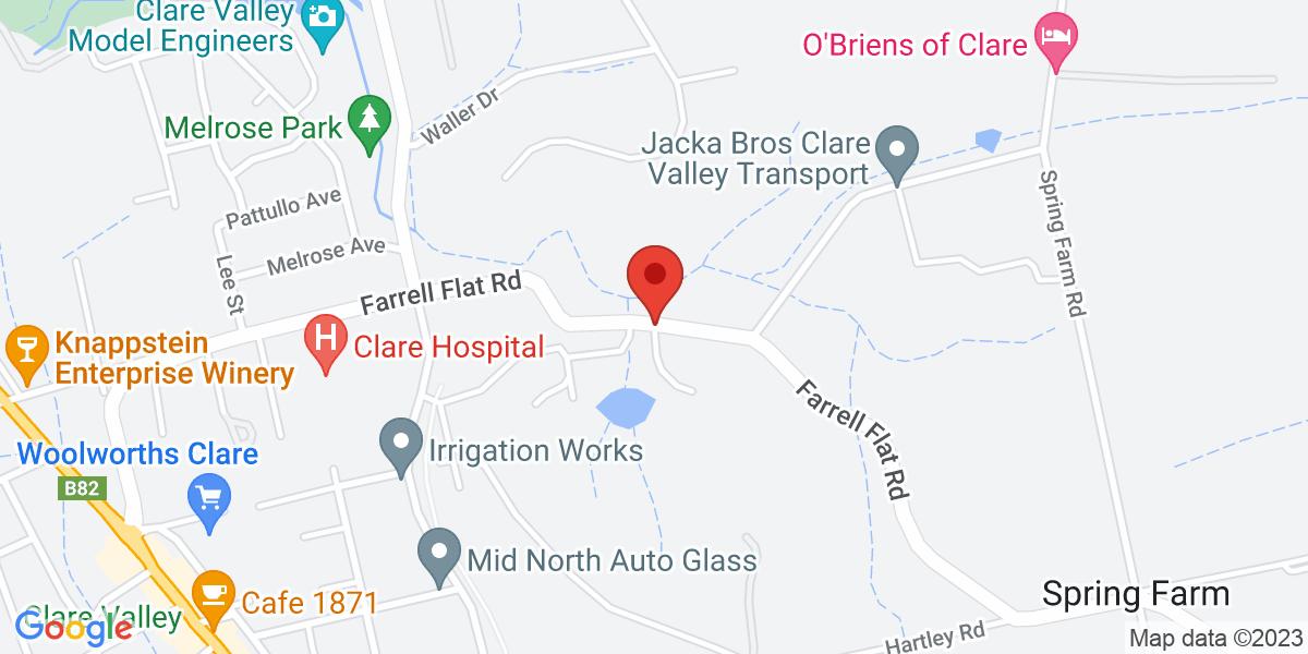 <div class='vcard'><div class='fn'>Evilo Estate</div>                         <div class='adr' >                             <div class='street-address'>134 Farrell Flat Road</div>                             <div class='extended-address'></div>                             <div>                                 <span class='locality'>Clare</span>,                                 <span class='region'>South Australia</span>                                 <span class='postal-code'>5453</span>                             </div>                                                      </div></div>