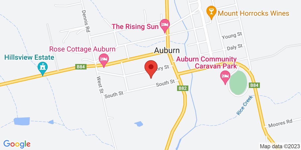 <div class='vcard'><div class='fn'>Annabelle's Cottage</div>                         <div class='adr' >                             <div class='street-address'>15 Henry Street</div>                             <div class='extended-address'></div>                             <div>                                 <span class='locality'>Auburn</span>,                                 <span class='region'>South Australia</span>                                 <span class='postal-code'>5451</span>                             </div>                                                      </div></div>