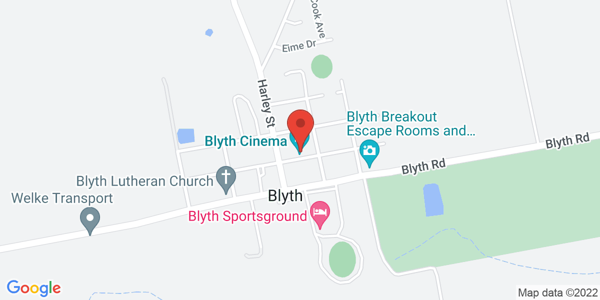 <div class='vcard'><div class='fn'>Blyth Cinema</div>                         <div class='adr' >                             <div class='street-address'>15 Moore Street</div>                             <div class='extended-address'></div>                             <div>                                 <span class='locality'>Blyth</span>,                                 <span class='region'>South Australia</span>                                 <span class='postal-code'>5462</span>                             </div>                                                      </div></div>
