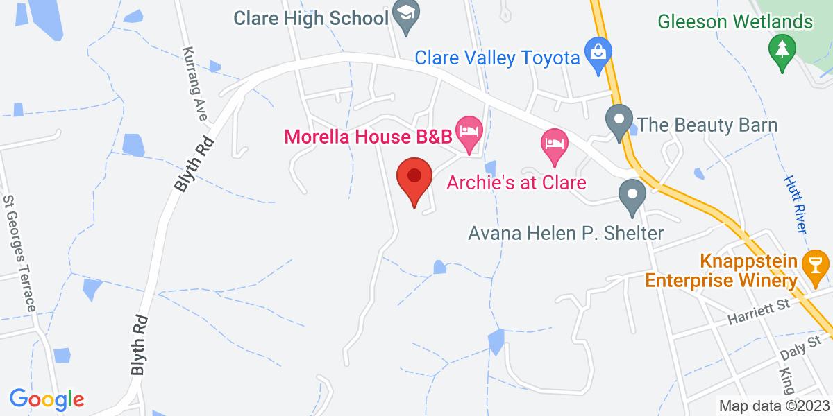 <div class='vcard'><div class='fn'>Morella House</div>                         <div class='adr' >                             <div class='street-address'>15 Vanga Avenue</div>                             <div class='extended-address'></div>                             <div>                                 <span class='locality'>Clare</span>,                                 <span class='region'>South Australia</span>                                 <span class='postal-code'>5453</span>                             </div>                                                      </div></div>