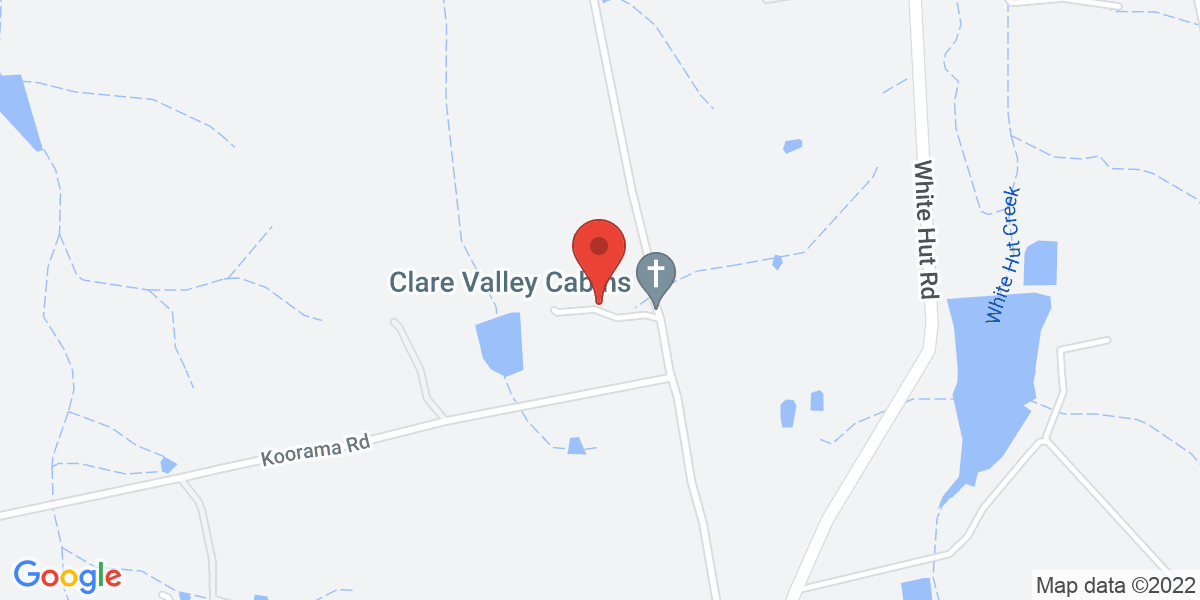 <div class='vcard'><div class='fn'>Clare Valley Cabins</div>                         <div class='adr' >                             <div class='street-address'>176 Hubbe Road</div>                             <div class='extended-address'></div>                             <div>                                 <span class='locality'>Stanley Flat</span>,                                 <span class='region'>South Australia</span>                                 <span class='postal-code'>5453</span>                             </div>                                                      </div></div>