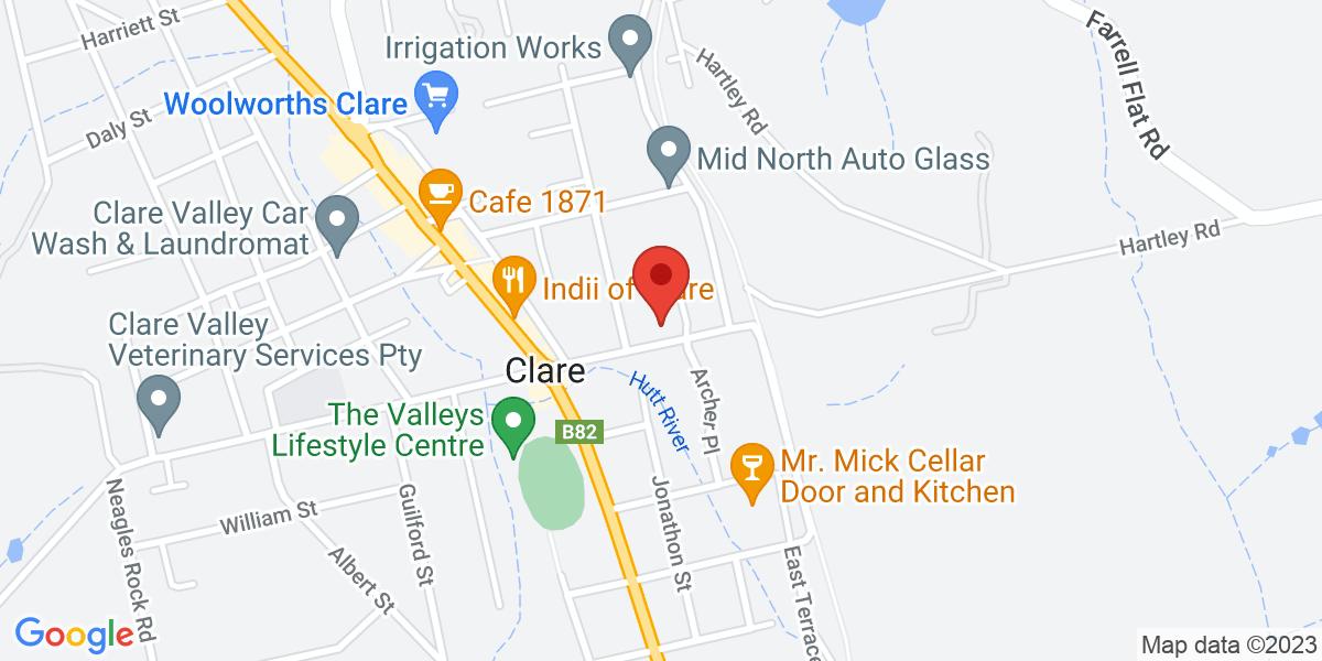 <div class='vcard'><div class='fn'>Clarevale Cottage B&B</div>                         <div class='adr' >                             <div class='street-address'>18 Lennon Street</div>                             <div class='extended-address'></div>                             <div>                                 <span class='locality'>Clare</span>,                                 <span class='region'>South Australia</span>                                 <span class='postal-code'>5453</span>                             </div>                                                      </div></div>