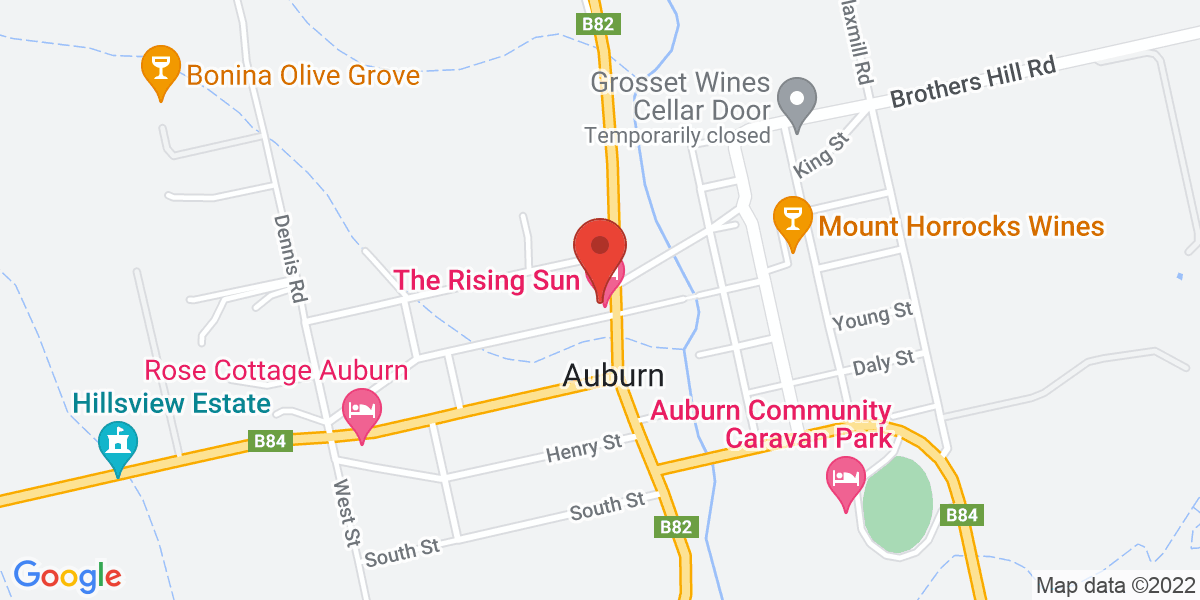 <div class='vcard'><div class='fn'>The Rising Sun Hotel, Auburn</div>                         <div class='adr' >                             <div class='street-address'>19 Main North Road Auburn South Australia</div>                             <div class='extended-address'></div>                             <div>                                 <span class='locality'>Auburn</span>,                                 <span class='region'>South Australia</span>                                 <span class='postal-code'>5451</span>                             </div>                                                      </div></div>