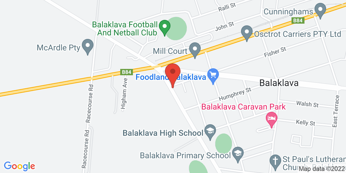 <div class='vcard'><div class='fn'>The Matchbox House Bed and Breakfast</div>                         <div class='adr' >                             <div class='street-address'>2 George Street</div>                             <div class='extended-address'></div>                             <div>                                 <span class='locality'>Balaklava</span>,                                 <span class='region'>South Australia</span>                                 <span class='postal-code'>5461</span>                             </div>                                                      </div></div>