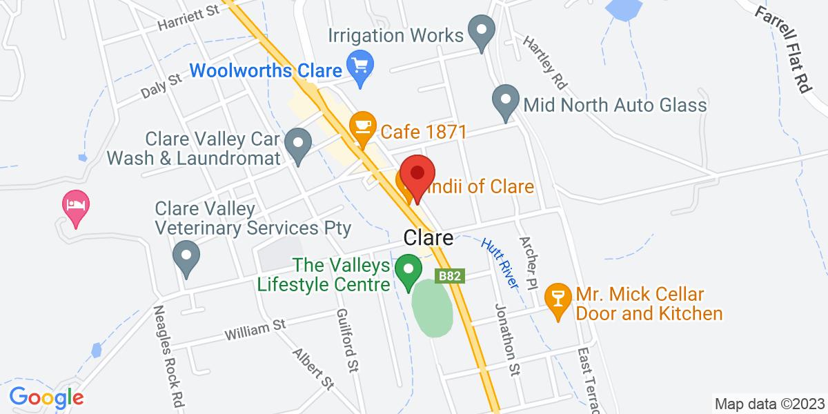 <div class='vcard'><div class='fn'>Indii Of Clare</div>                         <div class='adr' >                             <div class='street-address'>201 Main North Road</div>                             <div class='extended-address'>Clare</div>                             <div>                                 <span class='locality'>Clare</span>,                                 <span class='region'>South Australia</span>                                 <span class='postal-code'>5453</span>                             </div>                                                      </div></div>