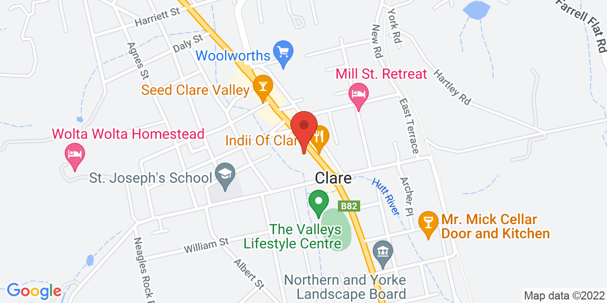 <div class='vcard'><div class='fn'>MGA Insurance Group</div>                         <div class='adr' >                             <div class='street-address'>206 Main North Road</div>                             <div class='extended-address'></div>                             <div>                                 <span class='locality'>Clare</span>,                                 <span class='region'>SA</span>                                 <span class='postal-code'>5453</span>                             </div>                                                      </div></div>