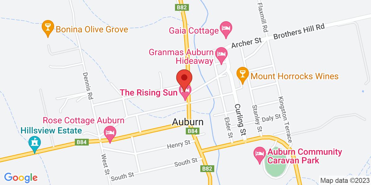 <div class='vcard'><div class='fn'>Terroir Auburn</div>                         <div class='adr' >                             <div class='street-address'>21 Main North Road</div>                             <div class='extended-address'></div>                             <div>                                 <span class='locality'>Auburn</span>,                                 <span class='region'>South Australia</span>                                 <span class='postal-code'>5451</span>                             </div>                                                      </div></div>