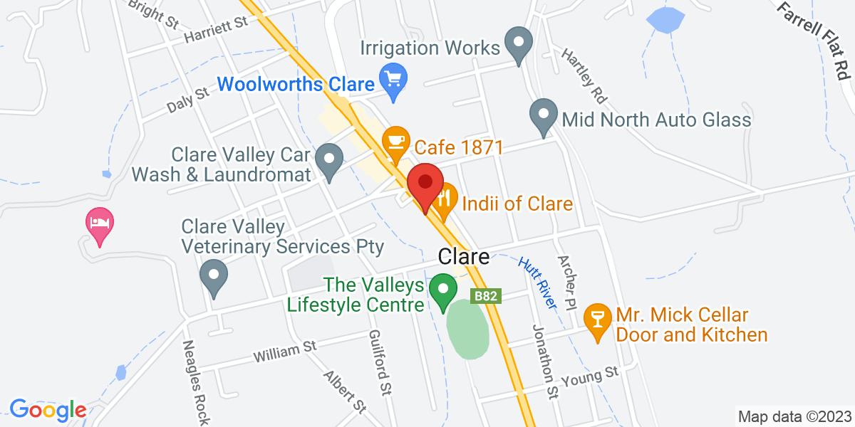 <div class='vcard'><div class='fn'>Panchos Pizza & Pasta</div>                         <div class='adr' >                             <div class='street-address'>210 Main North Rd</div>                             <div class='extended-address'>Clare</div>                             <div>                                 <span class='locality'>Clare</span>,                                 <span class='region'>South Australia</span>                                 <span class='postal-code'>5453</span>                             </div>                                                      </div></div>