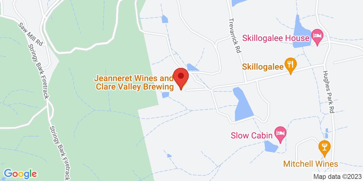 <div class='vcard'><div class='fn'>Clare Valley Brewing Co</div>                         <div class='adr' >                             <div class='street-address'>22 Jeanneret Road</div>                             <div class='extended-address'></div>                             <div>                                 <span class='locality'>Sevenhill</span>,                                 <span class='region'>South Australia</span>                                 <span class='postal-code'>5453</span>                             </div>                                                      </div></div>