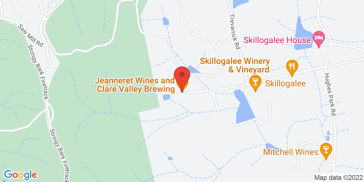 <div class='vcard'><div class='fn'>Clare Valley Brewing Co</div>                         <div class='adr' >                             <div class='street-address'>22 Jeanneret Road</div>                             <div class='extended-address'></div>                             <div>                                 <span class='locality'>Sevenhill</span>,                                 <span class='region'>South Australia</span>                                 <span class='postal-code'>5453</span>                             </div>                                                      </div></div>