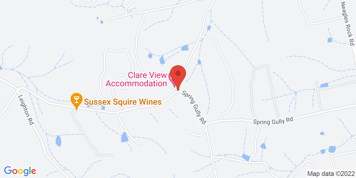 <div class='vcard'><div class='fn'>Clare View Accommodation - Clare View House</div>                         <div class='adr' >                             <div class='street-address'>220 Spring Gully Road</div>                             <div class='extended-address'></div>                             <div>                                 <span class='locality'>Clare</span>,                                 <span class='region'>South Australia</span>                                 <span class='postal-code'>5453</span>                             </div>                                                      </div></div>