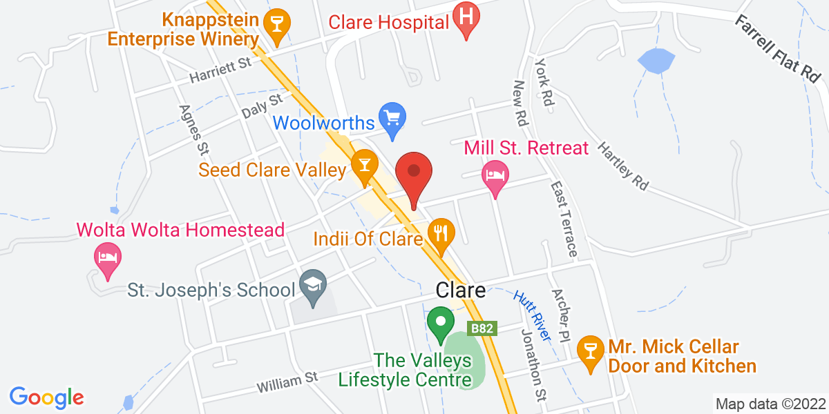 <div class='adr' >                             <div class='street-address'>229 Main North Road</div>                             <div class='extended-address'></div>                             <div>                                 <span class='locality'>Clare</span>,                                 <span class='region'>South Australia</span>                                 <span class='postal-code'>5453</span>                             </div>                                                      </div>