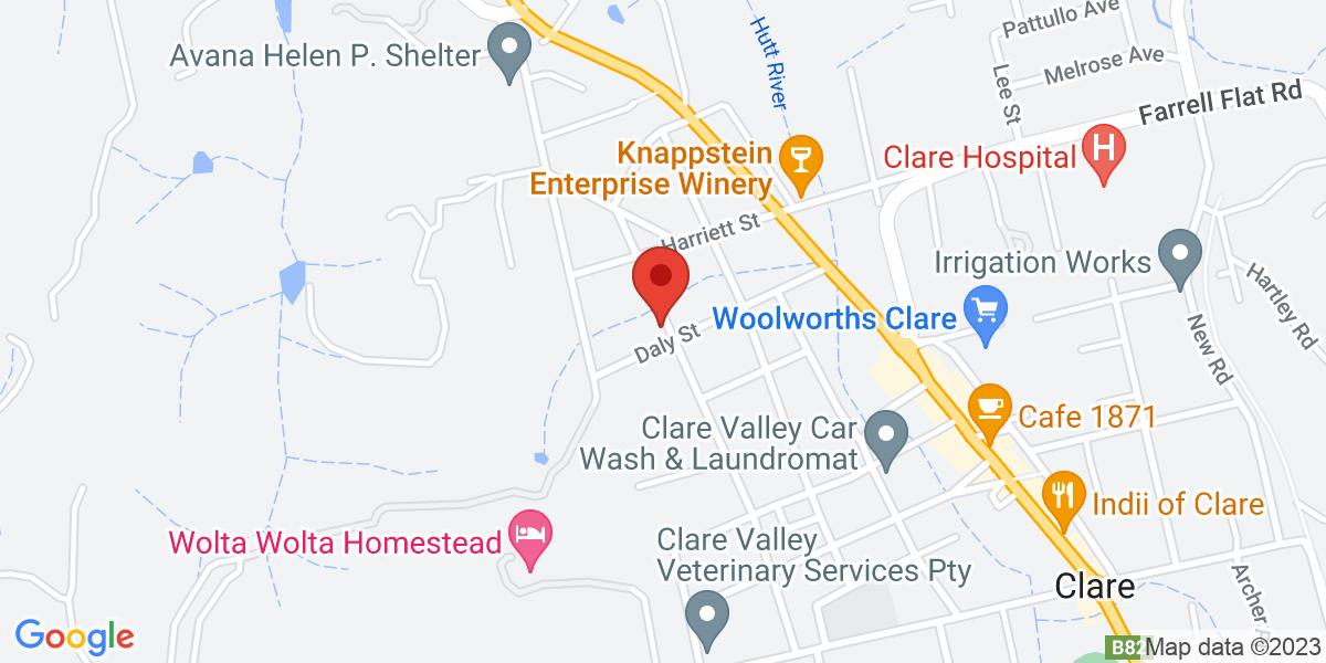 <div class='vcard'><div class='fn'>Croll Cottage</div>                         <div class='adr' >                             <div class='street-address'>23 Daly Street</div>                             <div class='extended-address'></div>                             <div>                                 <span class='locality'>Clare</span>,                                 <span class='region'>South Australia</span>                                 <span class='postal-code'>5453</span>                             </div>                                                      </div></div>
