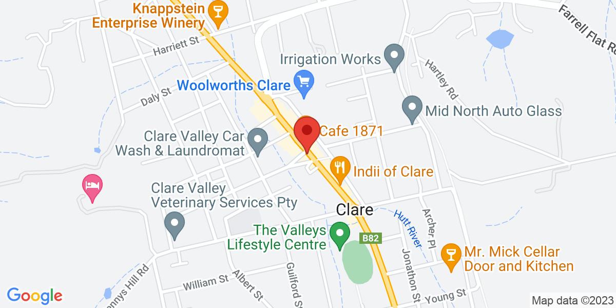 <div class='adr' >                             <div class='street-address'>242 Horrocks Highway</div>                             <div class='extended-address'></div>                             <div>                                 <span class='locality'>Clare</span>,                                 <span class='region'>South Australia</span>                                 <span class='postal-code'>5453</span>                             </div>                                                      </div>
