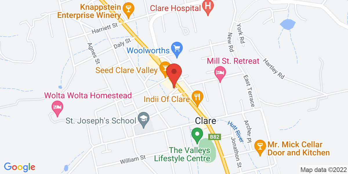 <div class='vcard'><div class='fn'>Clare Hotel Accommodation</div>                         <div class='adr' >                             <div class='street-address'>244 Main North Rd</div>                             <div class='extended-address'></div>                             <div>                                 <span class='locality'>Clare</span>,                                 <span class='region'>South Australia</span>                                 <span class='postal-code'>5453</span>                             </div>                                                      </div></div>