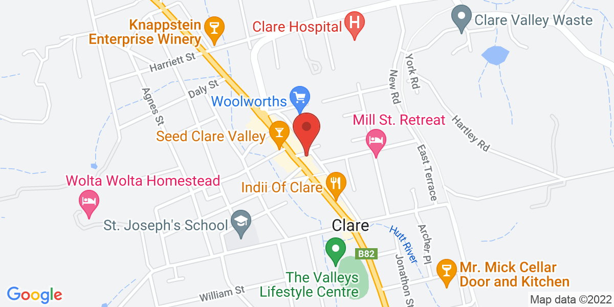 <div class='adr' >                             <div class='street-address'>245A Main North Road</div>                             <div class='extended-address'></div>                             <div>                                 <span class='locality'>Clare</span>,                                 <span class='region'>South Australia</span>                                 <span class='postal-code'>5453</span>                             </div>                                                      </div>