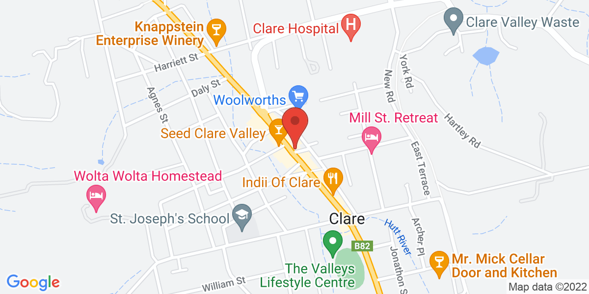 <div class='adr' >                             <div class='street-address'>260 Main North Road</div>                             <div class='extended-address'>4 Edwards Mall</div>                             <div>                                 <span class='locality'>Clare</span>,                                 <span class='region'>South Australia</span>                                 <span class='postal-code'>5453</span>                             </div>                                                      </div>
