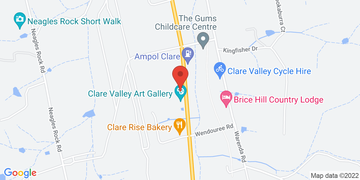 <div class='vcard'><div class='fn'>Clare Valley Art Gallery</div>                         <div class='adr' >                             <div class='street-address'>28 Horrocks Highway</div>                             <div class='extended-address'></div>                             <div>                                 <span class='locality'>Clare</span>,                                 <span class='region'>South Australia</span>                                 <span class='postal-code'>5453</span>                             </div>                                                      </div></div>
