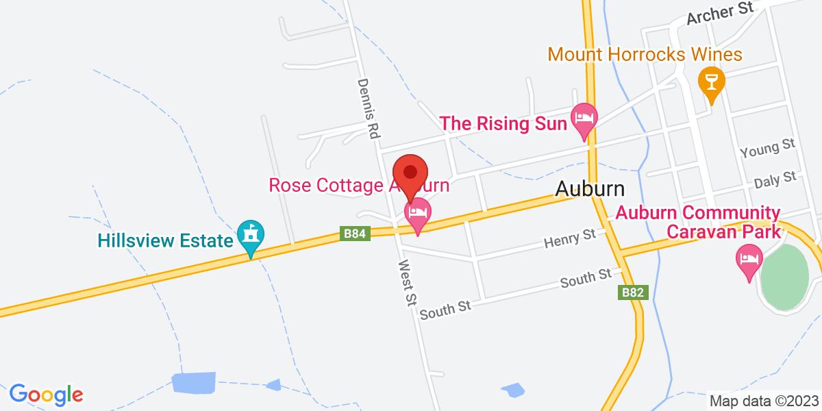 <div class='vcard'><div class='fn'>Lyreen's Apartment Bed and Breakfast</div>                         <div class='adr' >                             <div class='street-address'>28a St Vincent St</div>                             <div class='extended-address'></div>                             <div>                                 <span class='locality'>Auburn</span>,                                 <span class='region'>South Australia</span>                                 <span class='postal-code'>5451</span>                             </div>                                                      </div></div>