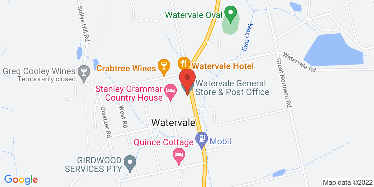 <div class='vcard'><div class='fn'>Watervale General Store</div>                         <div class='adr' >                             <div class='street-address'>29 Main North Road</div>                             <div class='extended-address'></div>                             <div>                                 <span class='locality'>Watervale</span>,                                 <span class='region'>South Australia</span>                                 <span class='postal-code'>5452</span>                             </div>                                                      </div></div>