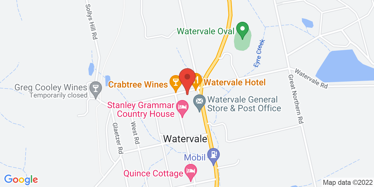 <div class='vcard'><div class='fn'>Watervale Hotel Guesthouse</div>                         <div class='adr' >                             <div class='street-address'>3 North Terrace</div>                             <div class='extended-address'></div>                             <div>                                 <span class='locality'>Watervale</span>,                                 <span class='region'>South Australia</span>                                 <span class='postal-code'>5452</span>                             </div>                                                      </div></div>