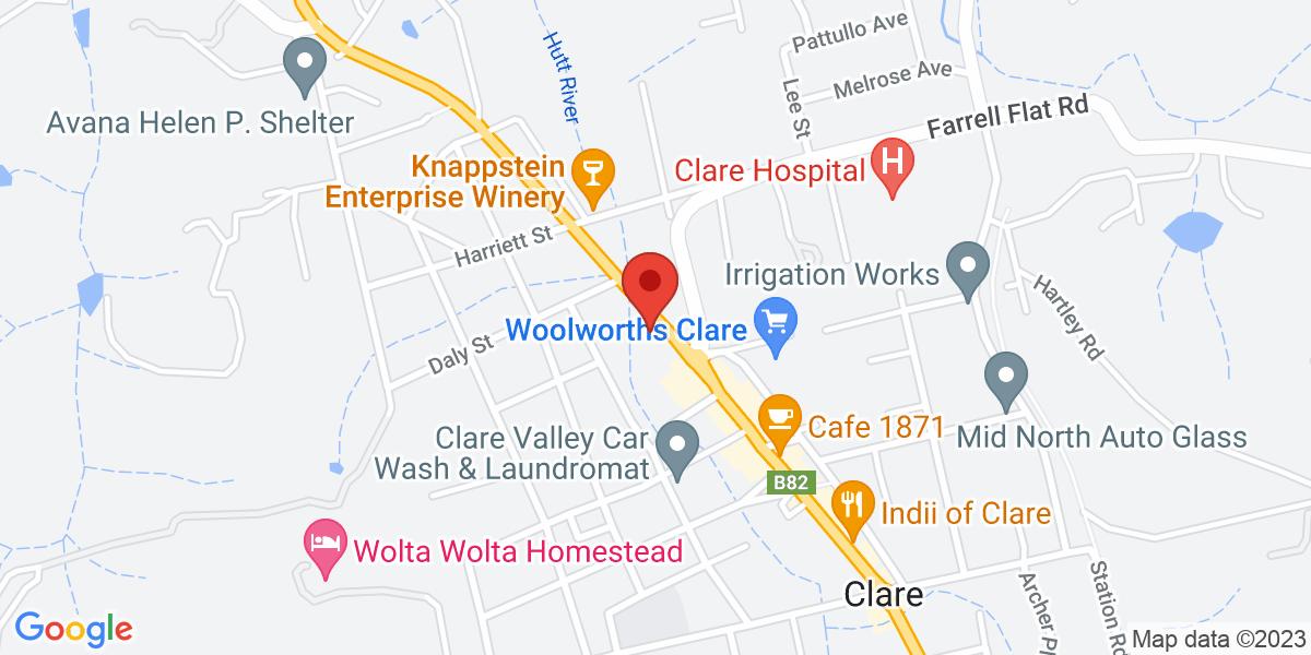 <div class='vcard'><div class='fn'>umbria</div>                         <div class='adr' >                             <div class='street-address'>308b Main North Road</div>                             <div class='extended-address'></div>                             <div>                                 <span class='locality'>Clare</span>,                                 <span class='region'>South Australia</span>                                 <span class='postal-code'>5453</span>                             </div>                                                      </div></div>