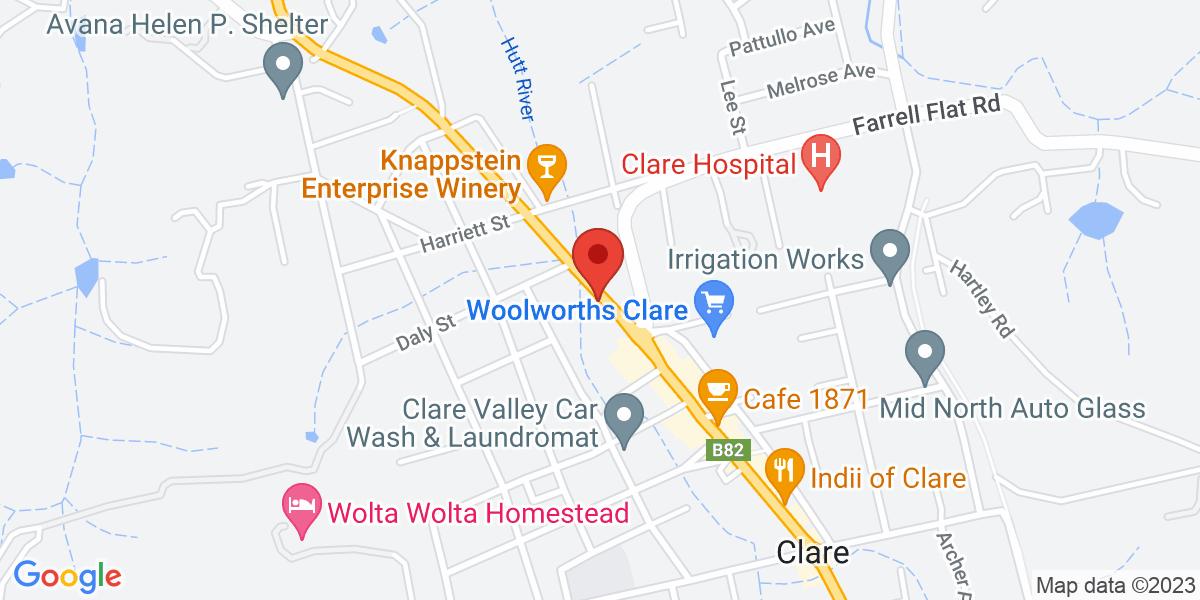 <div class='vcard'><div class='fn'>The Mill Apartments, Clare Valley</div>                         <div class='adr' >                             <div class='street-address'>310 Horrocks Highway</div>                             <div class='extended-address'></div>                             <div>                                 <span class='locality'>Clare</span>,                                 <span class='region'>South Australia</span>                                 <span class='postal-code'>5453</span>                             </div>                                                      </div></div>