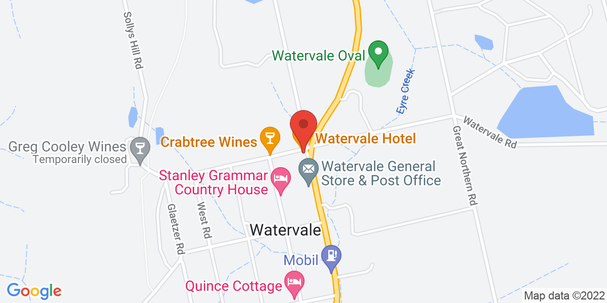 <div class='vcard'><div class='fn'>Watervale Hotel</div>                         <div class='adr' >                             <div class='street-address'>37 Main North Road</div>                             <div class='extended-address'></div>                             <div>                                 <span class='locality'>Watervale</span>,                                 <span class='region'>South Australia</span>                                 <span class='postal-code'>5452</span>                             </div>                                                      </div></div>