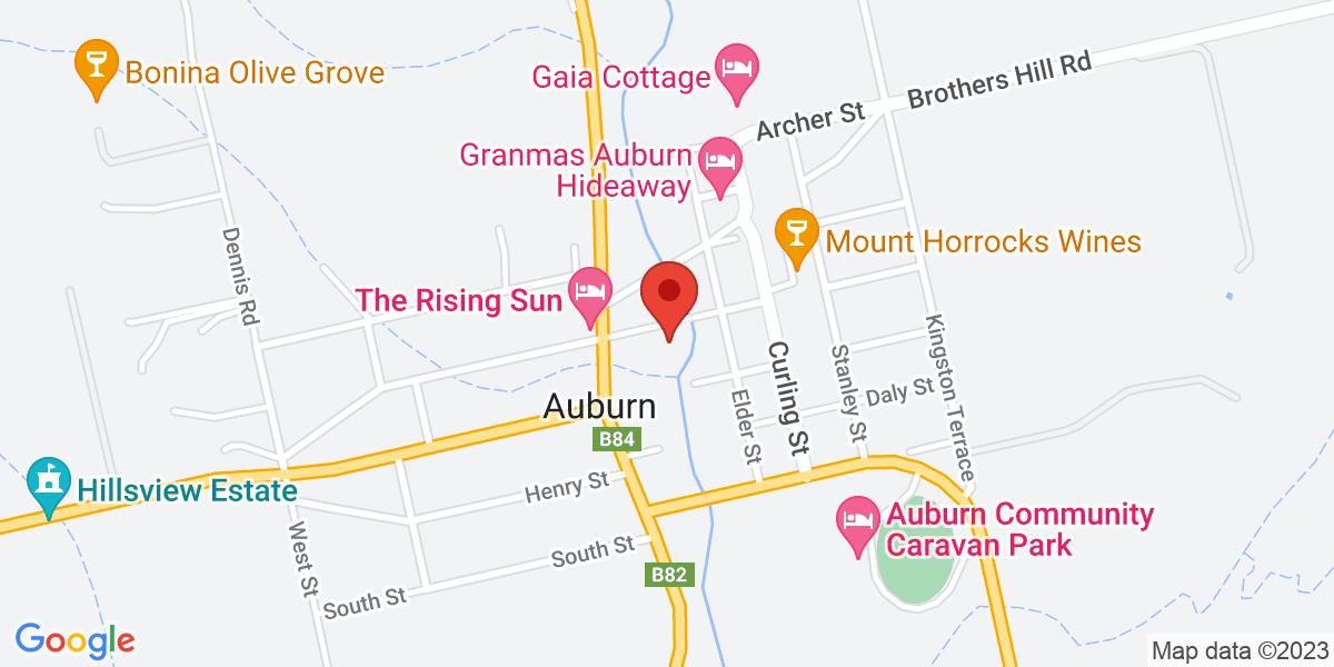 <div class='adr' >                             <div class='street-address'>4 Church Street</div>                             <div class='extended-address'></div>                             <div>                                 <span class='locality'>Auburn</span>,                                 <span class='region'>South Australia</span>                                 <span class='postal-code'>5451</span>                             </div>                                                      </div>