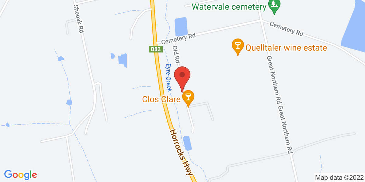 <div class='vcard'><div class='fn'>clos Clare</div>                         <div class='adr' >                             <div class='street-address'>40 Old Road</div>                             <div class='extended-address'></div>                             <div>                                 <span class='locality'>Watervale</span>,                                 <span class='region'>South Australia</span>                                 <span class='postal-code'>5452</span>                             </div>                                                      </div></div>