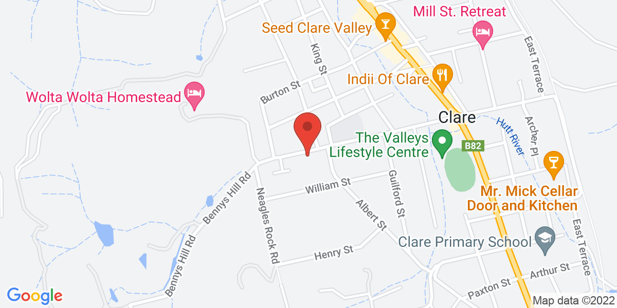 <div class='vcard'><div class='fn'>Jacks House B&B Clare</div>                         <div class='adr' >                             <div class='street-address'>42 Victoria Road</div>                             <div class='extended-address'></div>                             <div>                                 <span class='locality'>Clare</span>,                                 <span class='region'>South Australia</span>                                 <span class='postal-code'>5453</span>                             </div>                                                      </div></div>