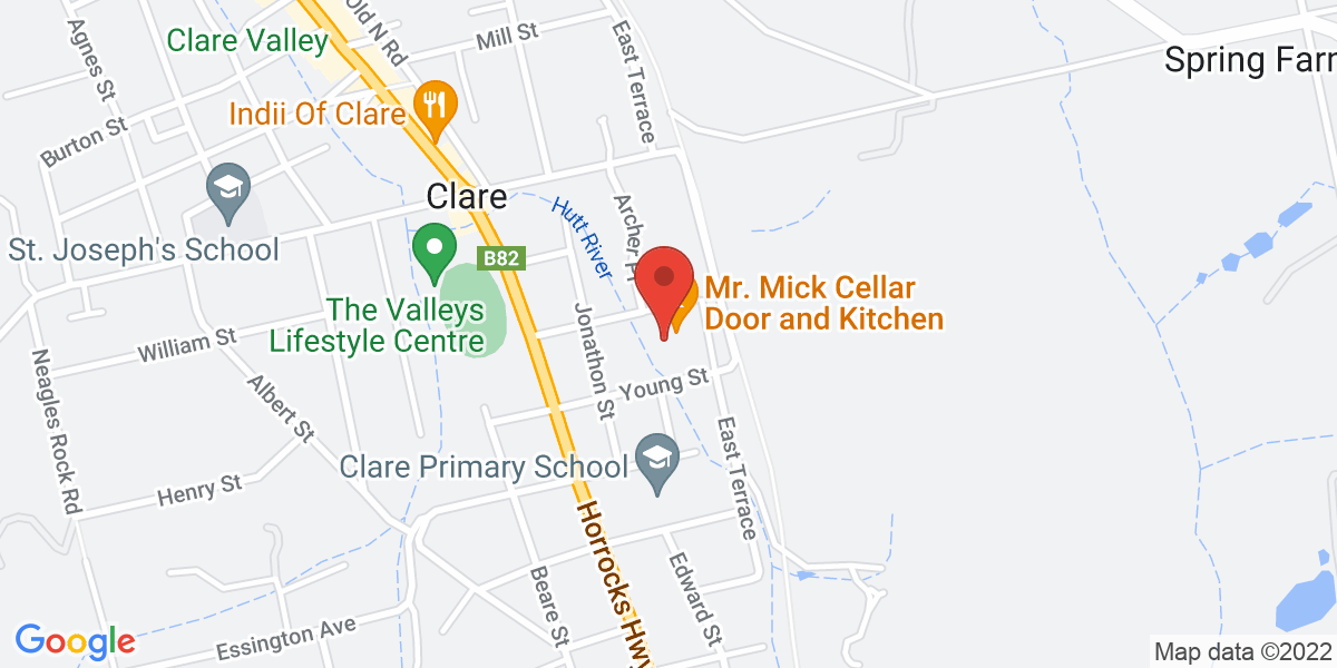 <div class='vcard'><div class='fn'>Mr Mick Cellar Door and Kitchen</div>                         <div class='adr' >                             <div class='street-address'>7 Dominic Street</div>                             <div class='extended-address'></div>                             <div>                                 <span class='locality'>Clare</span>,                                 <span class='region'>South Australia</span>                                 <span class='postal-code'>5453</span>                             </div>                                                      </div></div>