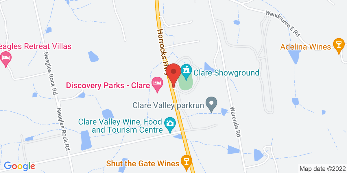 <div class='vcard'><div class='fn'>Clare Show Market</div>                         <div class='adr' >                             <div class='street-address'>8510 Horrocks Highway</div>                             <div class='extended-address'></div>                             <div>                                 <span class='locality'>Clare</span>,                                 <span class='region'>South Australia</span>                                 <span class='postal-code'>5453</span>                             </div>                                                      </div></div>
