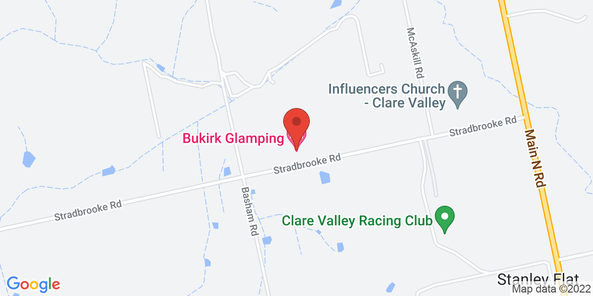 <div class='vcard'><div class='fn'>Bukirk Glamping Clare Valley</div>                         <div class='adr' >                             <div class='street-address'>88 Stradbrooke Road</div>                             <div class='extended-address'></div>                             <div>                                 <span class='locality'>Stanley Flat</span>,                                 <span class='region'>South Australia</span>                                 <span class='postal-code'>5453</span>                             </div>                                                      </div></div>