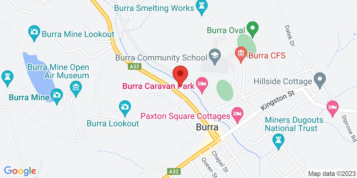<div class='vcard'><div class='fn'>Jumbucks Restaurant</div>                         <div class='adr' >                             <div class='street-address'>Burra Motor Inn, Market Street</div>                             <div class='extended-address'></div>                             <div>                                 <span class='locality'>Burra</span>,                                 <span class='region'>South Australia</span>                                 <span class='postal-code'>5417</span>                             </div>                                                      </div></div>